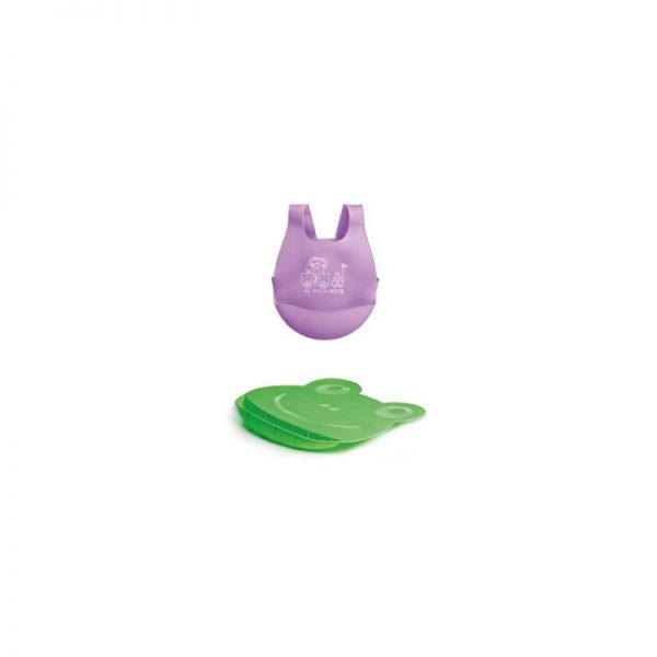 MS - Babete silicone + base - Roxo/Verde