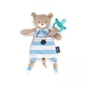 Chicco - Doudou Pocket Friend com Prende Chupeta Azul