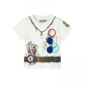 Bóboli - T-shirt Branca Estampada Menino