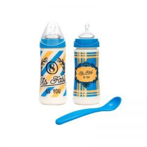 Suavinex - Pack Biberões Tetina Silicone com Oferta de Colher +6m Azul Escuro