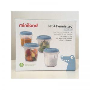 Miniland - Conjunto de 4 recipientes 250 ml Azul