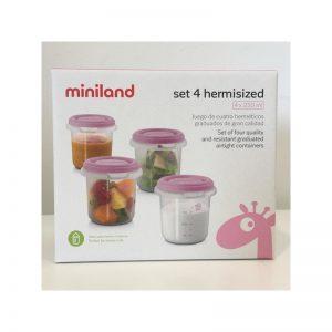 Miniland - Conjunto de 4 recipientes 250 ml Rosa