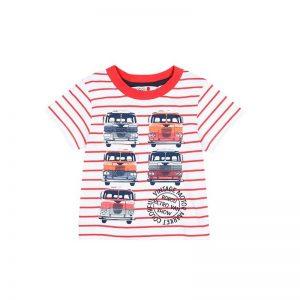 Bóboli - T-Shirt para bebé menino - Real Red Riscas
