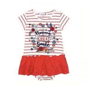 Bóboli - Vestido para menina - Real Red Riscas