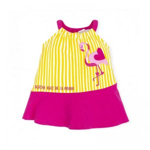 Agatha Ruiz de La Prada - Vestido Riscas Amarelo Flamingo
