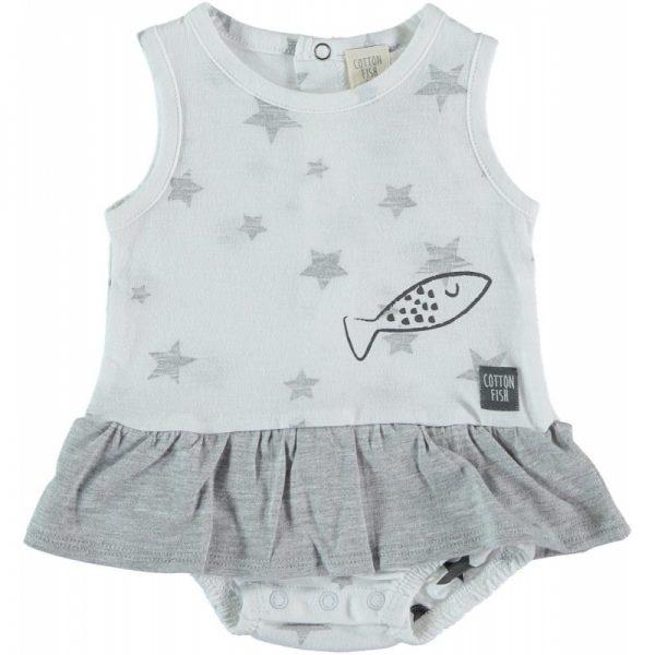 Cotton Fish - Vestido com bodie Estrelas - Cinza Cosmo