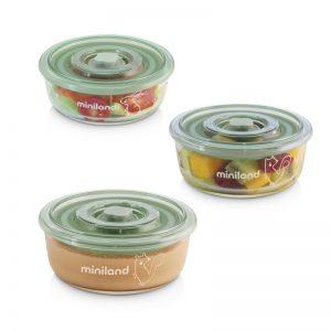 Miniland - Set 3 Recipientes em Vidro Naturround Chip - Verde