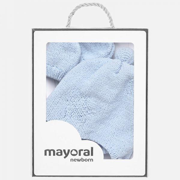 Mayoral - Conjunto Gorro e Luvas Pompom Azul Céu