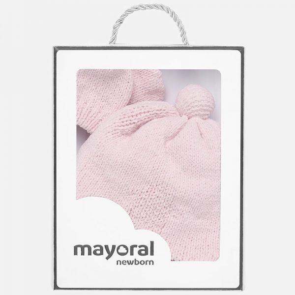 Mayoral - Conjunto Gorro e Luvas Pompom Rosa Baby