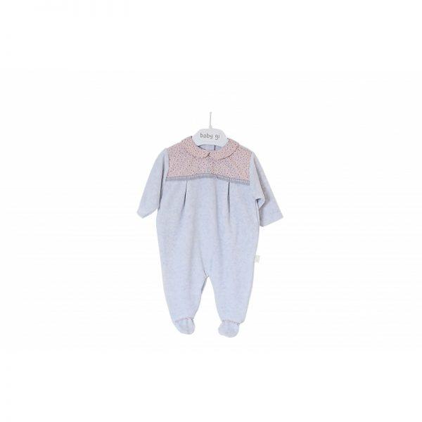 Baby Gi - Babygrow Aveludado c/ Gola Little Flower