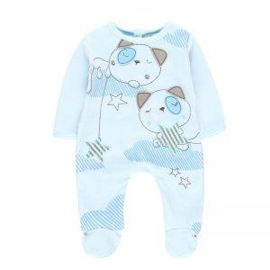 Bóboli - Babygrow Veludo Bebé Azul